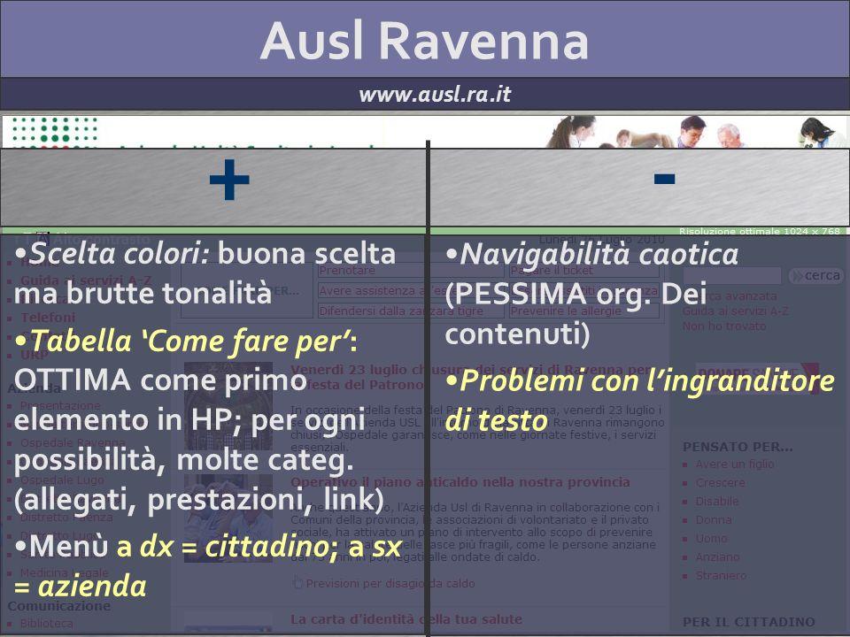 Ausl Ravenna www.ausl.ra.it + - Scelta colori: buona scelta ma brutte tonalità Tabella Come fare per: OTTIMA come primo elemento in HP; per ogni possibilità, molte categ.