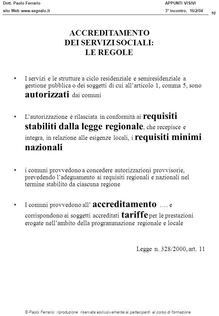 Dott. Paolo Ferrario sito Web www.segnalo.it 10 © Paolo Ferrario: riproduzione riservata esclusivamente ai partecipanti al corso di formazione APPUNTI
