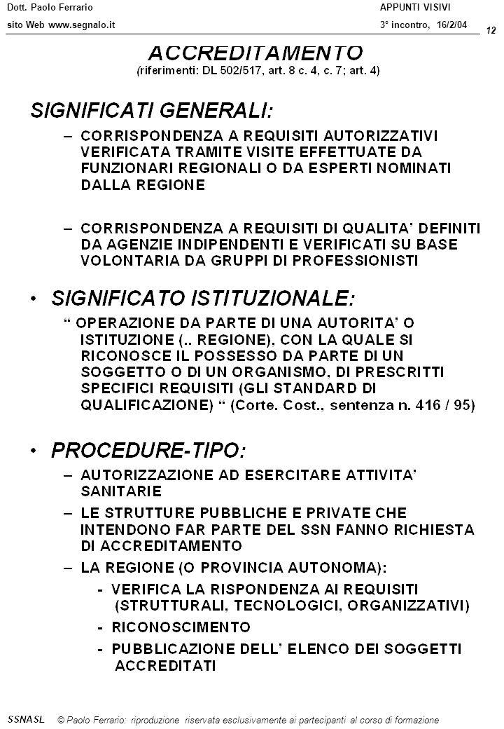 Dott. Paolo Ferrario sito Web www.segnalo.it 12 © Paolo Ferrario: riproduzione riservata esclusivamente ai partecipanti al corso di formazione APPUNTI