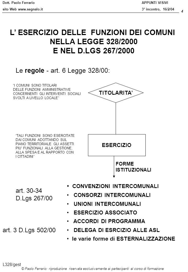 Dott. Paolo Ferrario sito Web www.segnalo.it 4 © Paolo Ferrario: riproduzione riservata esclusivamente ai partecipanti al corso di formazione APPUNTI
