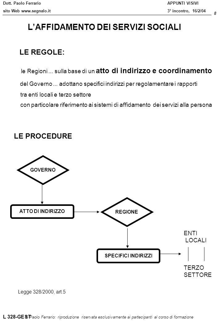 Dott. Paolo Ferrario sito Web www.segnalo.it 8 © Paolo Ferrario: riproduzione riservata esclusivamente ai partecipanti al corso di formazione APPUNTI