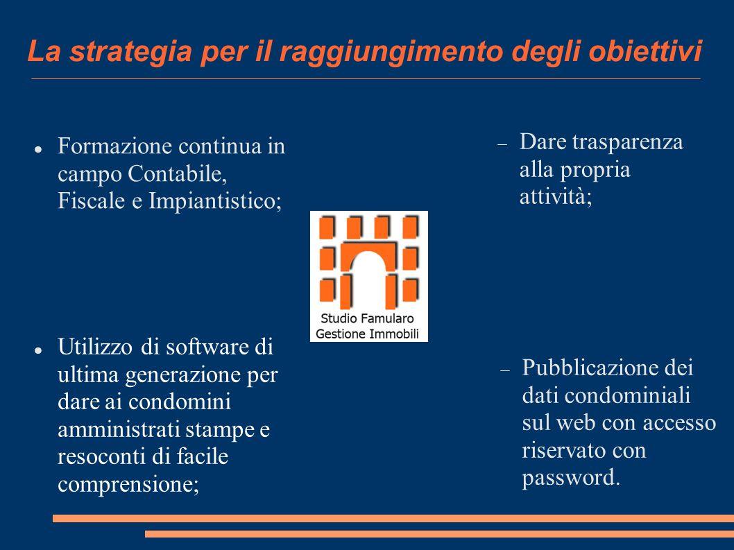 La strategia per il raggiungimento degli obiettivi Formazione continua in campo Contabile, Fiscale e Impiantistico; Dare trasparenza alla propria attività; Pubblicazione dei dati condominiali sul web con accesso riservato con password.