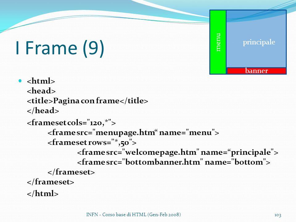 I Frame (9) Pagina con frame INFN - Corso base di HTML (Gen-Feb 2008)103 principale menu banner