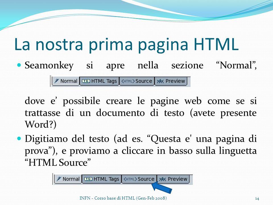 La nostra prima pagina HTML Seamonkey si apre nella sezione Normal, dove e possibile creare le pagine web come se si trattasse di un documento di testo (avete presente Word?) Digitiamo del testo (ad es.