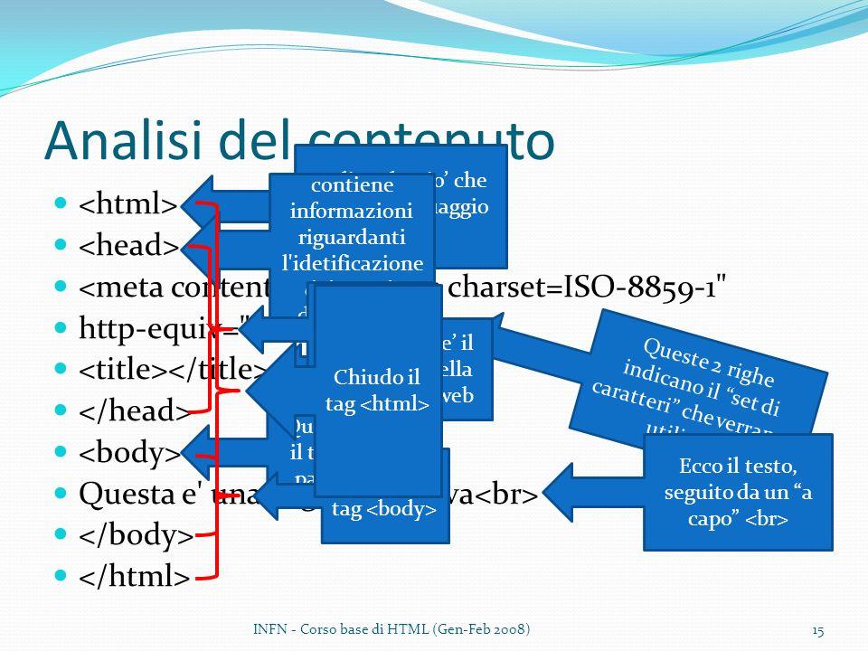 Analisi del contenuto <meta content= text/html; charset=ISO-8859-1 http-equiv= content-type > Questa e una pagina di prova Indico che cio che segue e linguaggio HTML contiene informazioni riguardanti l idetificazione del tipo di documento Queste 2 righe indicano il set di caratteri che verranno utilizzati Questo e il titolo della pagina web Chiude il tag Qui comincia il testo della pagina web Ecco il testo, seguito da un a capo Chiudo il tag INFN - Corso base di HTML (Gen-Feb 2008)15