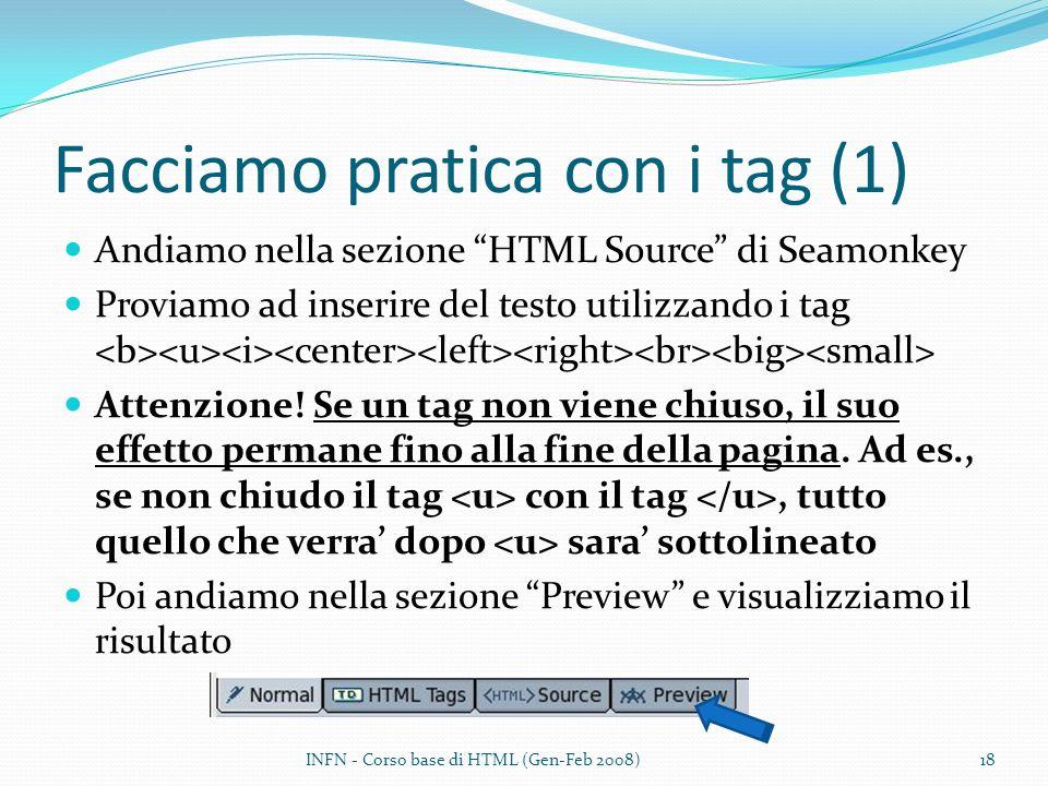 Facciamo pratica con i tag (1) Andiamo nella sezione HTML Source di Seamonkey Proviamo ad inserire del testo utilizzando i tag Attenzione! Se un tag n