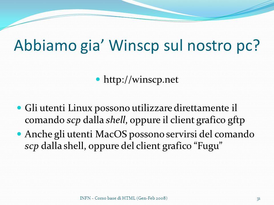 Abbiamo gia Winscp sul nostro pc? http://winscp.net Gli utenti Linux possono utilizzare direttamente il comando scp dalla shell, oppure il client graf