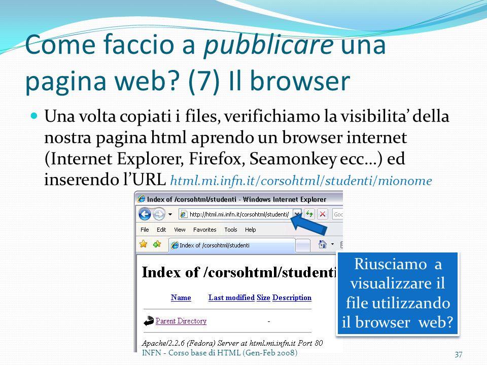 Come faccio a pubblicare una pagina web? (7) Il browser Una volta copiati i files, verifichiamo la visibilita della nostra pagina html aprendo un brow