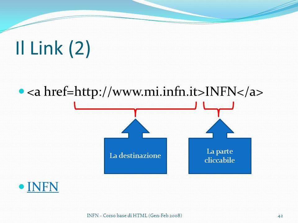 Il Link (2) INFN La destinazione La parte cliccabile INFN - Corso base di HTML (Gen-Feb 2008)42