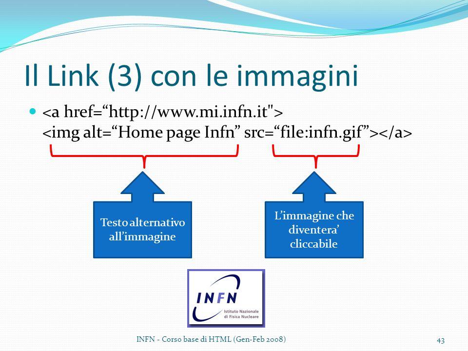 Il Link (3) con le immagini Testo alternativo allimmagine Limmagine che diventera cliccabile INFN - Corso base di HTML (Gen-Feb 2008)43