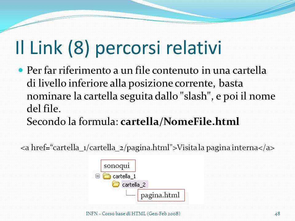 Il Link (8) percorsi relativi Per far riferimento a un file contenuto in una cartella di livello inferiore alla posizione corrente, basta nominare la