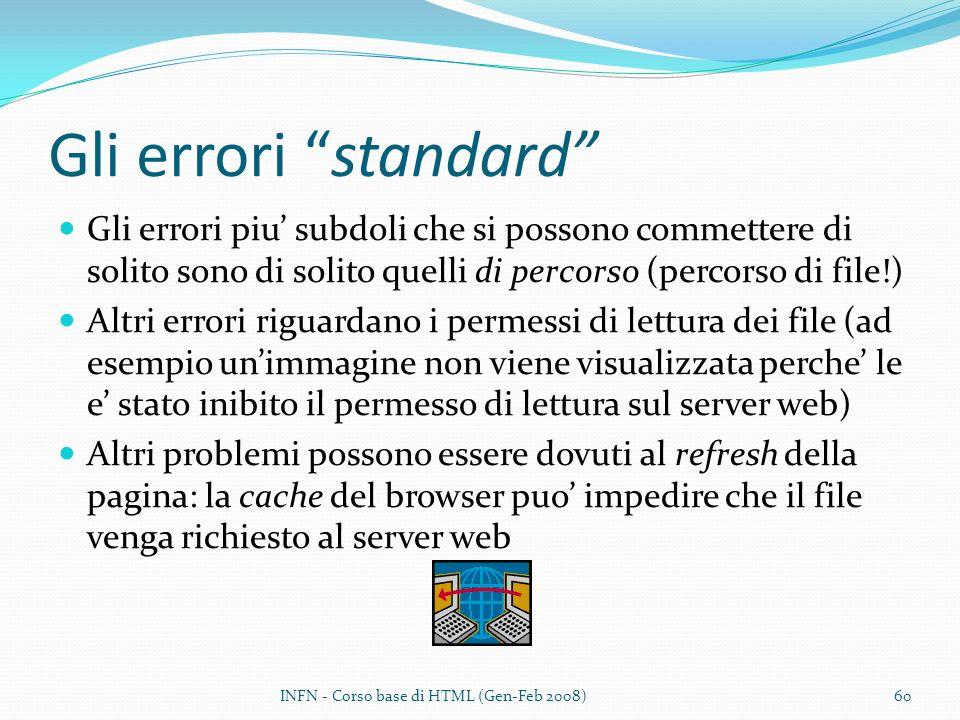 Gli errori standard Gli errori piu subdoli che si possono commettere di solito sono di solito quelli di percorso (percorso di file!) Altri errori riguardano i permessi di lettura dei file (ad esempio unimmagine non viene visualizzata perche le e stato inibito il permesso di lettura sul server web) Altri problemi possono essere dovuti al refresh della pagina: la cache del browser puo impedire che il file venga richiesto al server web INFN - Corso base di HTML (Gen-Feb 2008)60