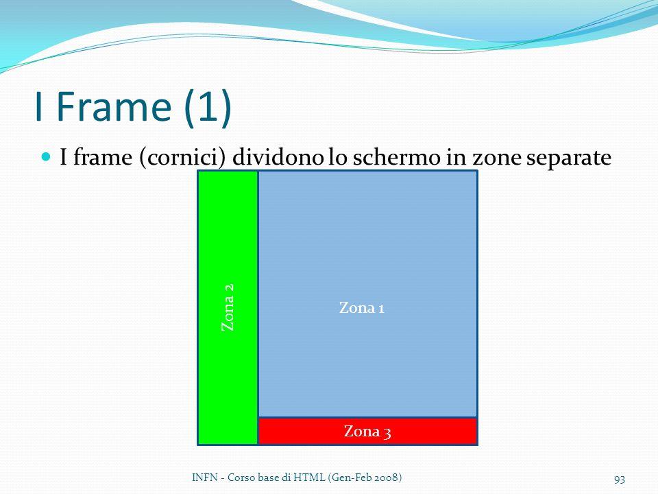 I Frame (1) I frame (cornici) dividono lo schermo in zone separate INFN - Corso base di HTML (Gen-Feb 2008)93 Zona 1 Zona 2 Zona 3