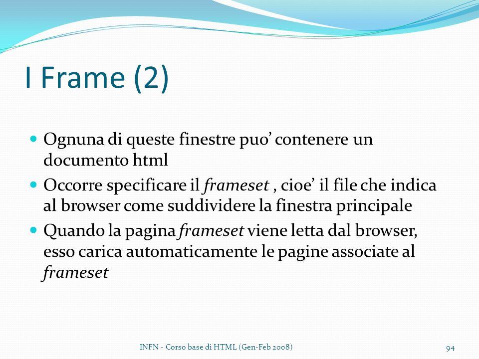 I Frame (2) Ognuna di queste finestre puo contenere un documento html Occorre specificare il frameset, cioe il file che indica al browser come suddividere la finestra principale Quando la pagina frameset viene letta dal browser, esso carica automaticamente le pagine associate al frameset INFN - Corso base di HTML (Gen-Feb 2008)94