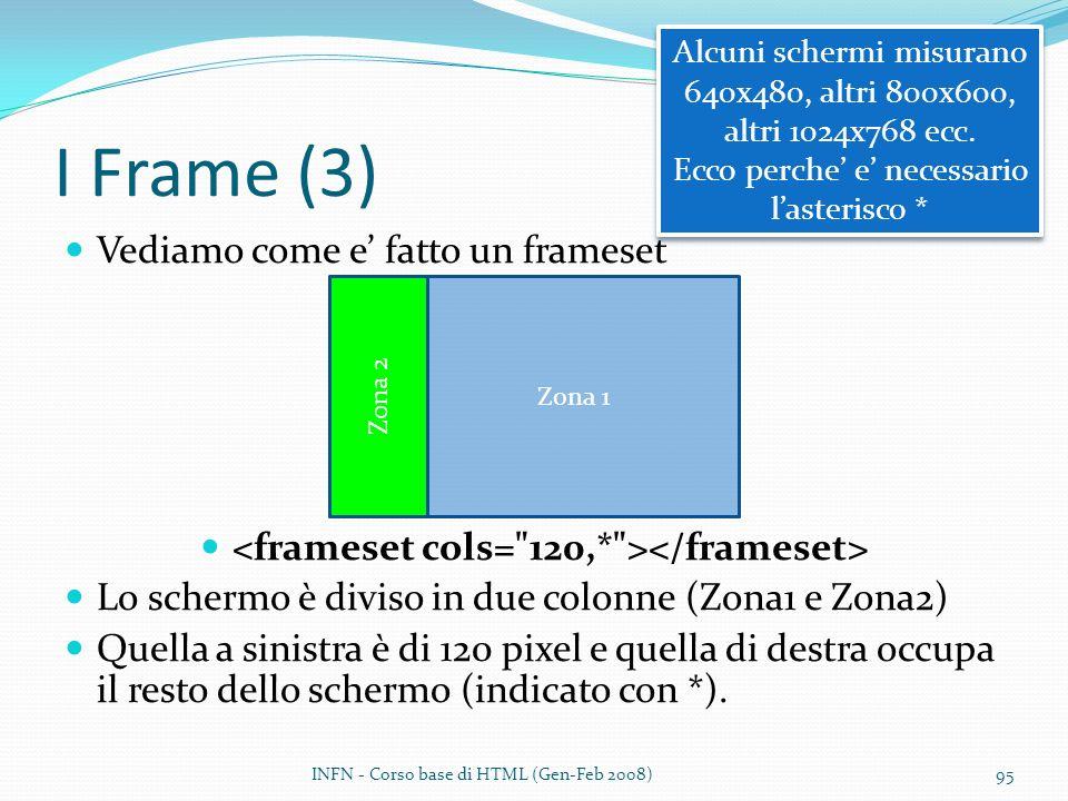 I Frame (3) Vediamo come e fatto un frameset Lo schermo è diviso in due colonne (Zona1 e Zona2) Quella a sinistra è di 120 pixel e quella di destra occupa il resto dello schermo (indicato con *).