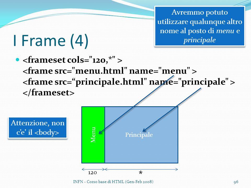 I Frame (4) INFN - Corso base di HTML (Gen-Feb 2008)96 Principale Menu 120 * Avremmo potuto utilizzare qualunque altro nome al posto di menu e principale Attenzione, non ce il