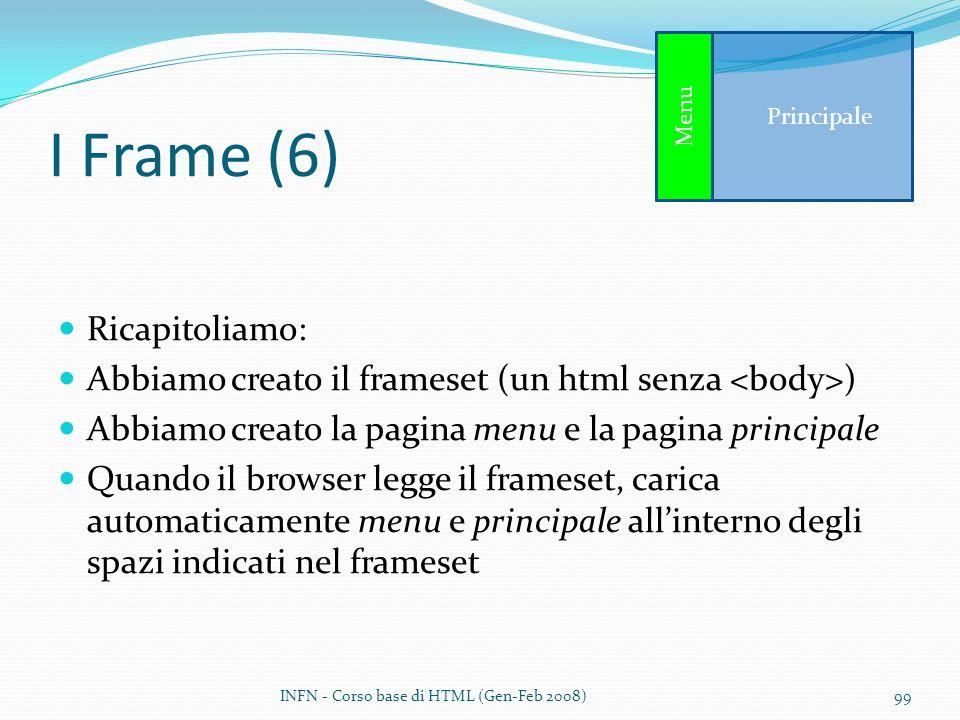 I Frame (6) Ricapitoliamo: Abbiamo creato il frameset (un html senza ) Abbiamo creato la pagina menu e la pagina principale Quando il browser legge il
