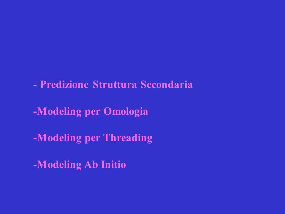 Predizione Struttura Secondaria I metodi usati sono tre e si basano sulle informazione raccolte dalle proteine la cui struttura terziaria è già risolta.
