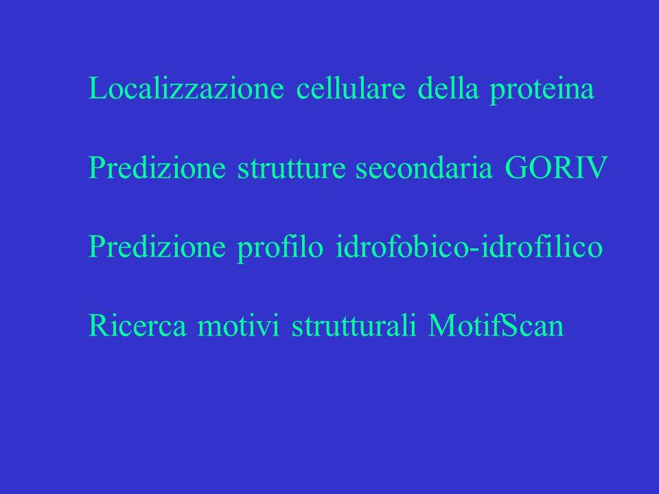 Predizione localizzazione cellulare PSORT