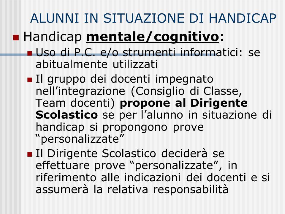 Handicap mentale/cognitivo: Uso di P.C.