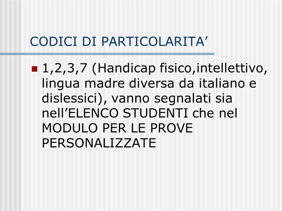 CODICI DI PARTICOLARITA 1,2,3,7 (Handicap fisico,intellettivo, lingua madre diversa da italiano e dislessici), vanno segnalati sia nellELENCO STUDENTI che nel MODULO PER LE PROVE PERSONALIZZATE