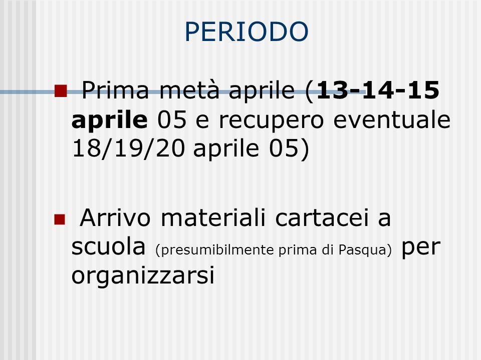 PERIODO Prima metà aprile (13-14-15 aprile 05 e recupero eventuale 18/19/20 aprile 05) Arrivo materiali cartacei a scuola (presumibilmente prima di Pasqua) per organizzarsi