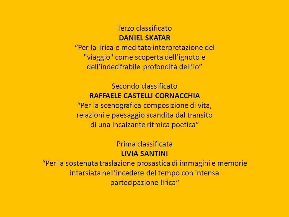 Terzo classificato DANIEL SKATAR Per la lirica e meditata interpretazione del
