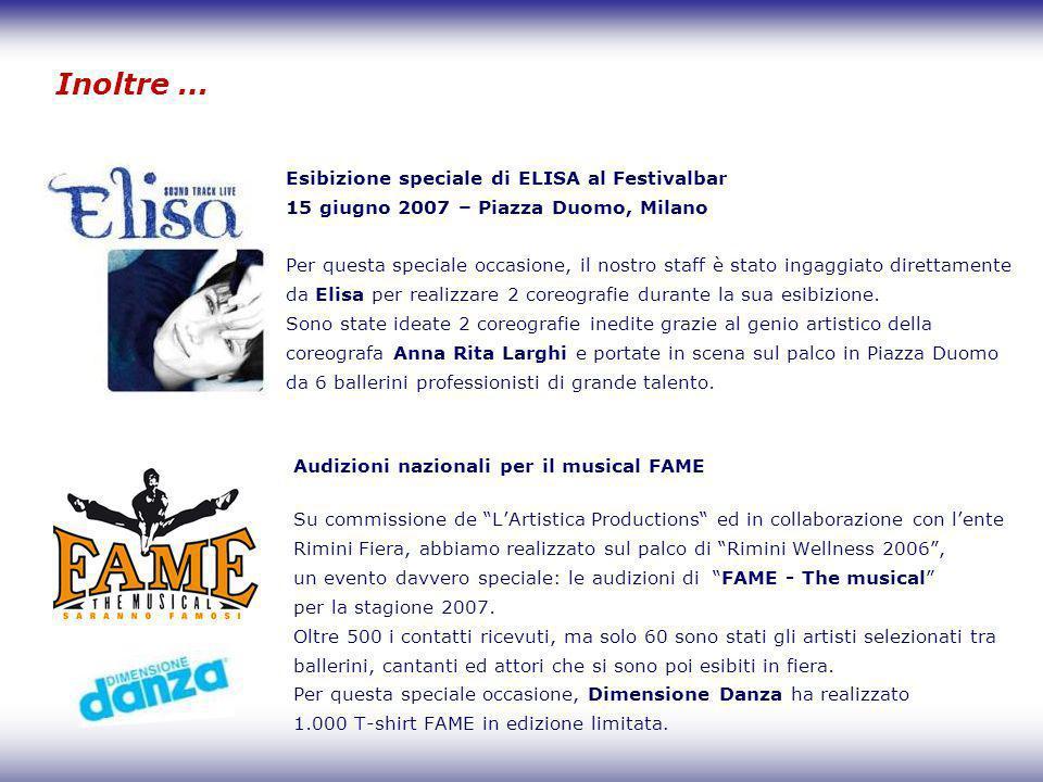 Inoltre … Audizioni nazionali per il musical FAME Su commissione de LArtistica Productions ed in collaborazione con lente Rimini Fiera, abbiamo realiz