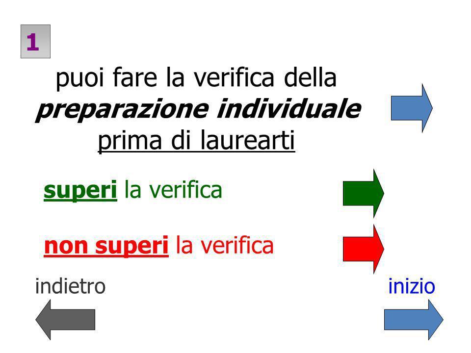 puoi fare la verifica della preparazione individuale prima di laurearti superi la verifica 1 non superi la verifica indietroinizio