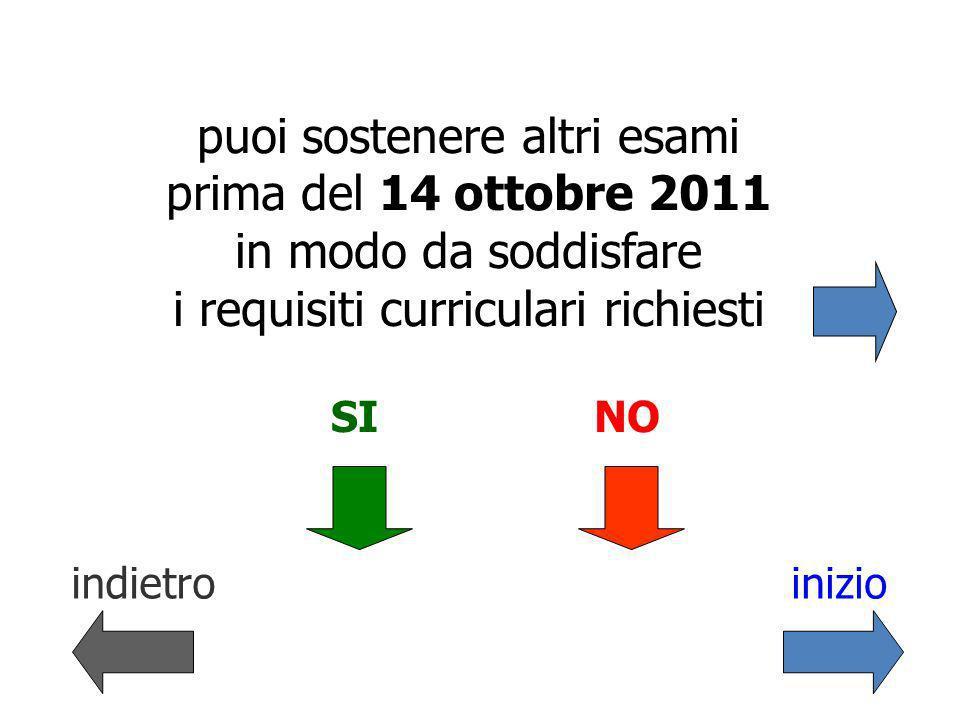 puoi sostenere altri esami prima del 14 ottobre 2011 in modo da soddisfare i requisiti curriculari richiesti indietroinizio SINO