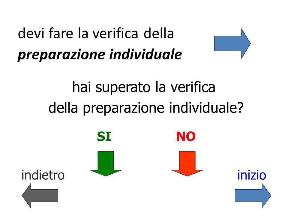 devi fare la verifica della preparazione individuale hai superato la verifica della preparazione individuale.