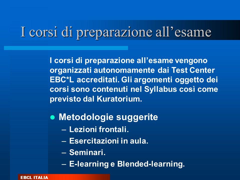 EBCL ITALIA I corsi di preparazione allesame Metodologie suggerite –Lezioni frontali. –Esercitazioni in aula. –Seminari. –E-learning e Blended-learnin