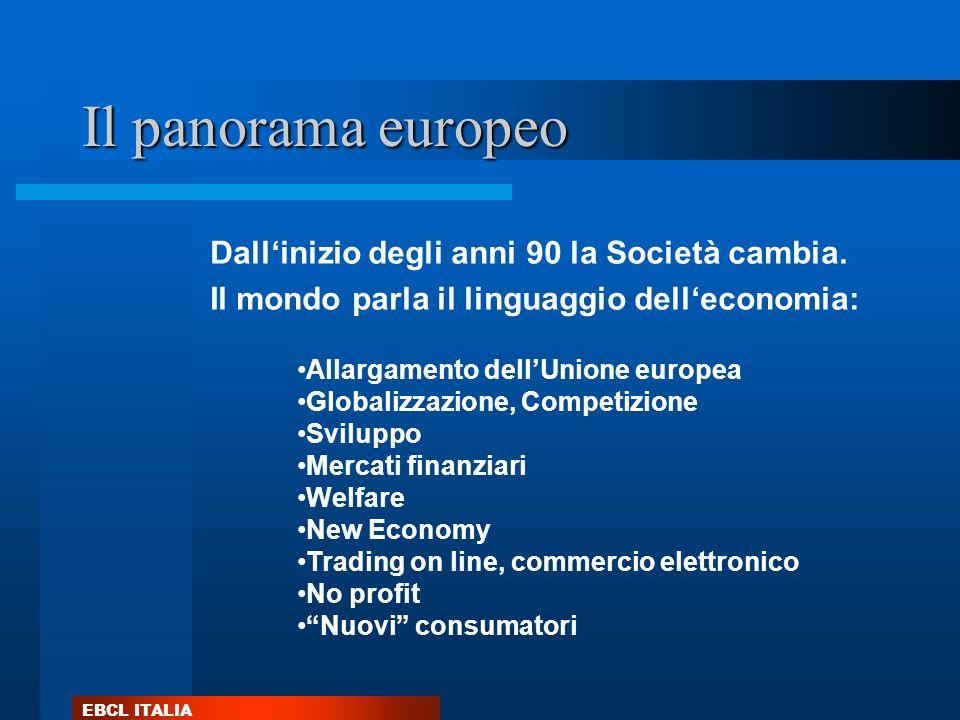 EBCL ITALIA Il panorama europeo Allargamento dellUnione europea Globalizzazione, Competizione Sviluppo Mercati finanziari Welfare New Economy Trading