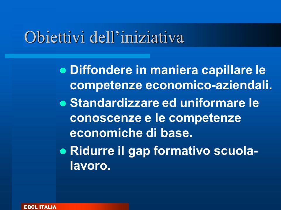 EBCL ITALIA Obiettivi delliniziativa Diffondere in maniera capillare le competenze economico-aziendali. Standardizzare ed uniformare le conoscenze e l