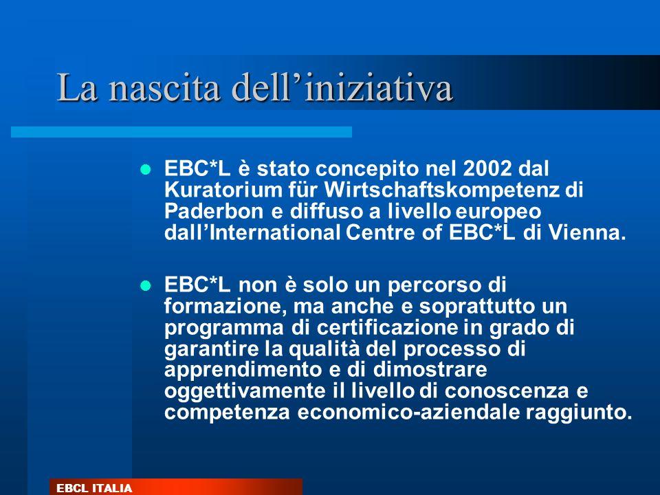 EBCL ITALIA La nascita delliniziativa EBC*L è stato concepito nel 2002 dal Kuratorium für Wirtschaftskompetenz di Paderbon e diffuso a livello europeo