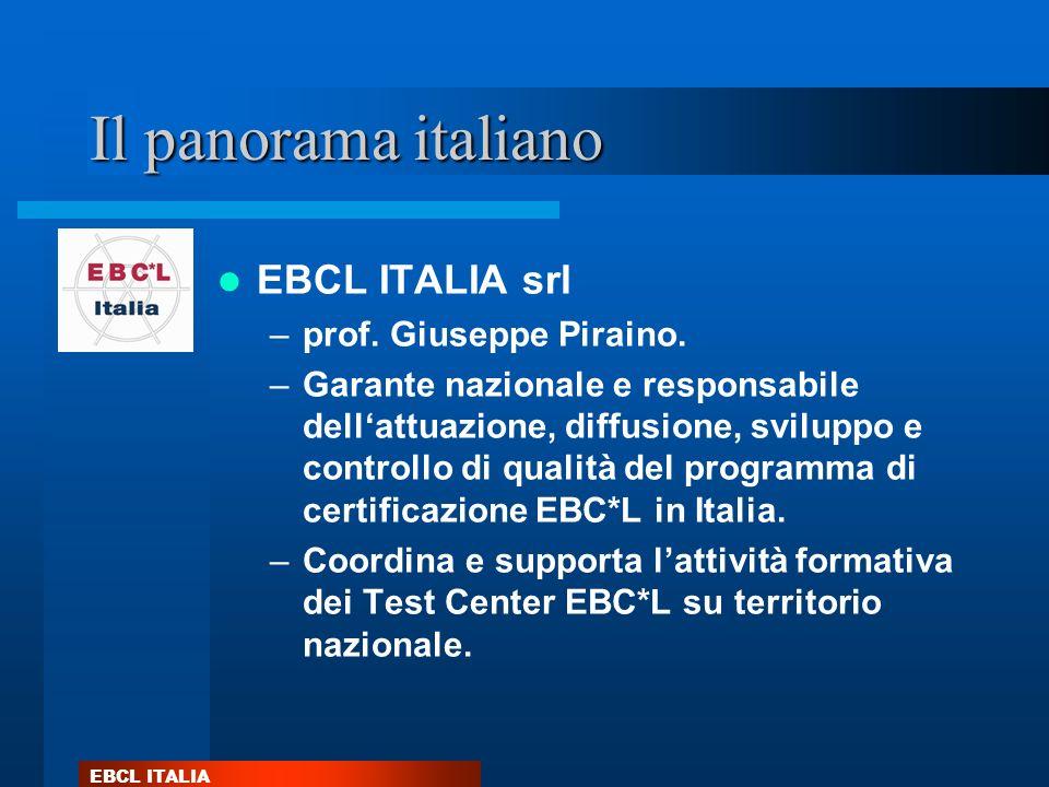 EBCL ITALIA Il panorama italiano EBCL ITALIA srl –prof. Giuseppe Piraino. –Garante nazionale e responsabile dellattuazione, diffusione, sviluppo e con