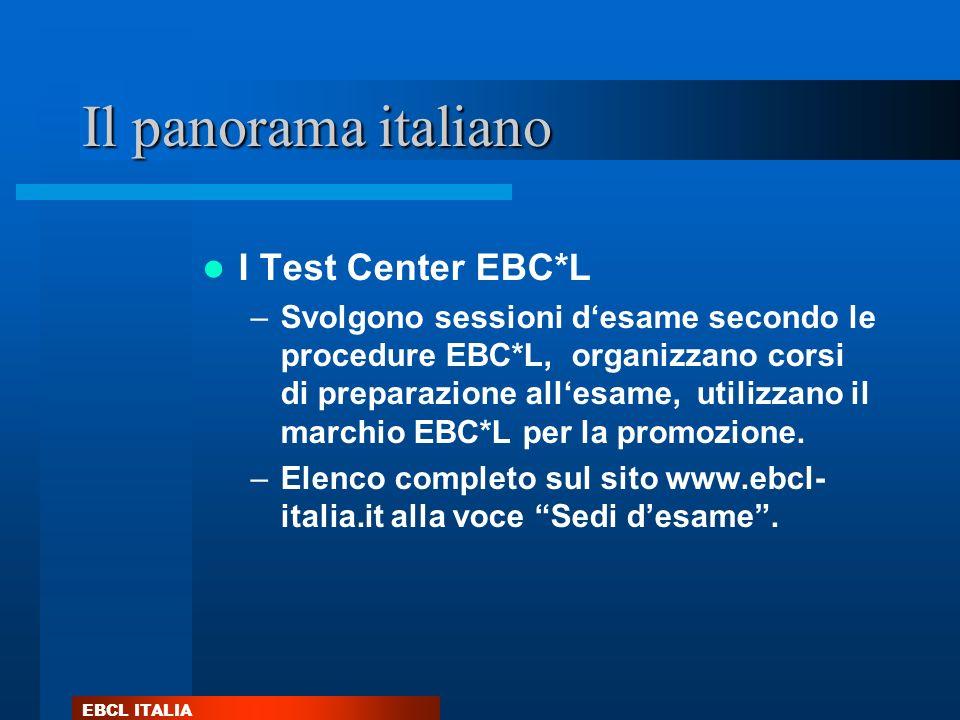 EBCL ITALIA Il panorama italiano I Test Center EBC*L –Svolgono sessioni desame secondo le procedure EBC*L, organizzano corsi di preparazione allesame,