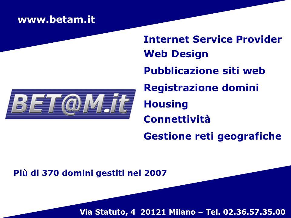 18 www.betam.it Internet Service Provider Web Design Pubblicazione siti web Registrazione domini Gestione reti geografiche Housing Connettività Via Statuto, 4 20121 Milano – Tel.