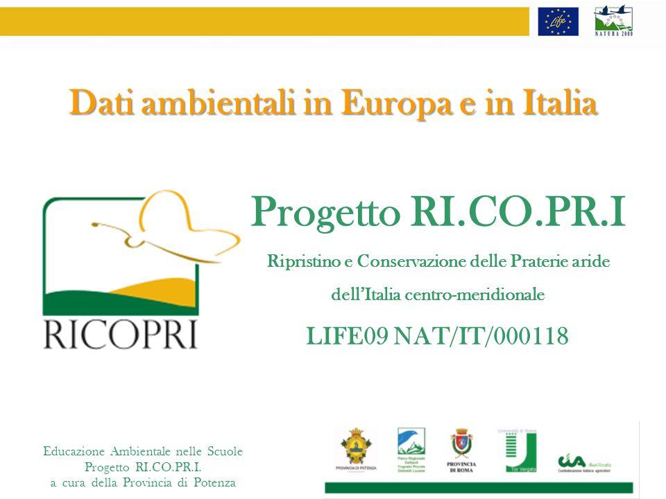 Educazione Ambientale nelle Scuole Progetto RI.CO.PR.I. a cura della Provincia di Potenza Dati ambientali in Europa e in Italia Progetto RI.CO.PR.I Ri