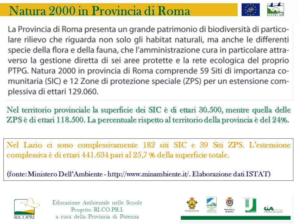 Natura 2000 in Provincia di Roma Nel territorio provinciale la superficie dei SIC è di ettari 30.500, mentre quella delle ZPS è di ettari 118.500.
