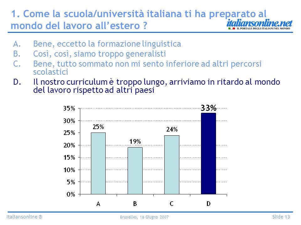 Italiansonline ® Bruxelles, 16 Giugno 2007 Slide 13 1. Come la scuola/università italiana ti ha preparato al mondo del lavoro allestero ? A.Bene, ecce