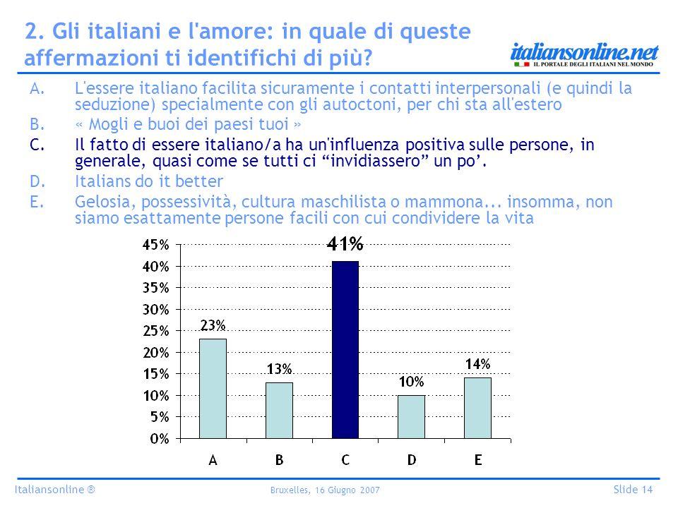 Italiansonline ® Bruxelles, 16 Giugno 2007 Slide 14 2. Gli italiani e l'amore: in quale di queste affermazioni ti identifichi di più? A.L'essere itali