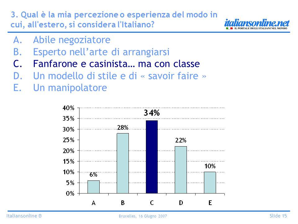 Italiansonline ® Bruxelles, 16 Giugno 2007 Slide 15 3. Qual è la mia percezione o esperienza del modo in cui, all'estero, si considera l'Italiano? A.A