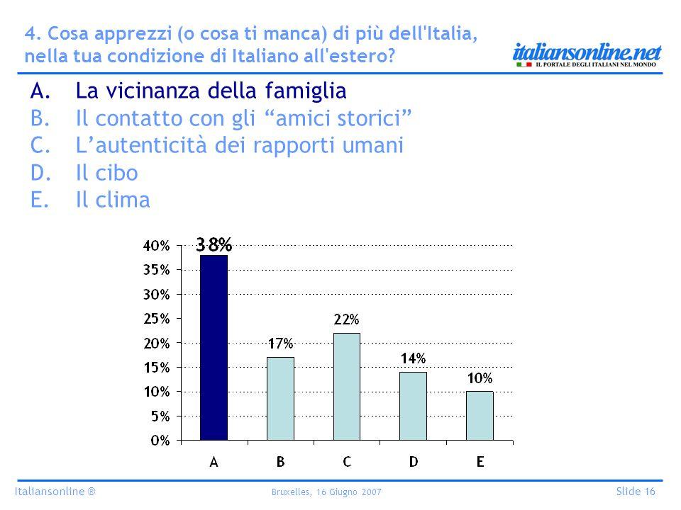 Italiansonline ® Bruxelles, 16 Giugno 2007 Slide 16 4. Cosa apprezzi (o cosa ti manca) di più dell'Italia, nella tua condizione di Italiano all'estero