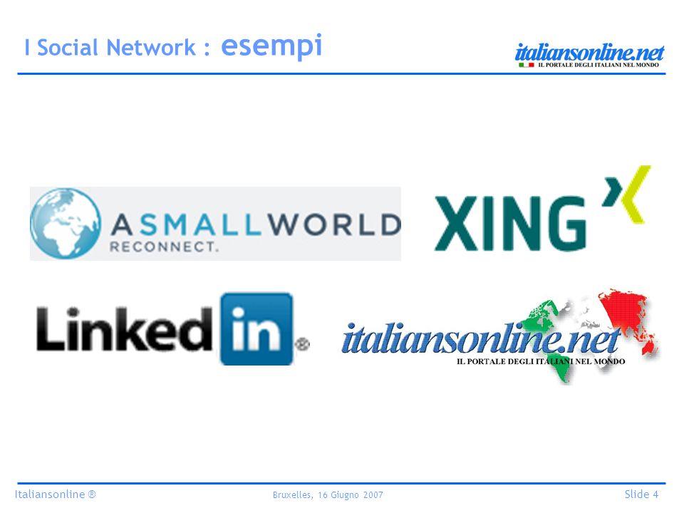 Italiansonline ® Bruxelles, 16 Giugno 2007 Slide 4 I Social Network : esempi