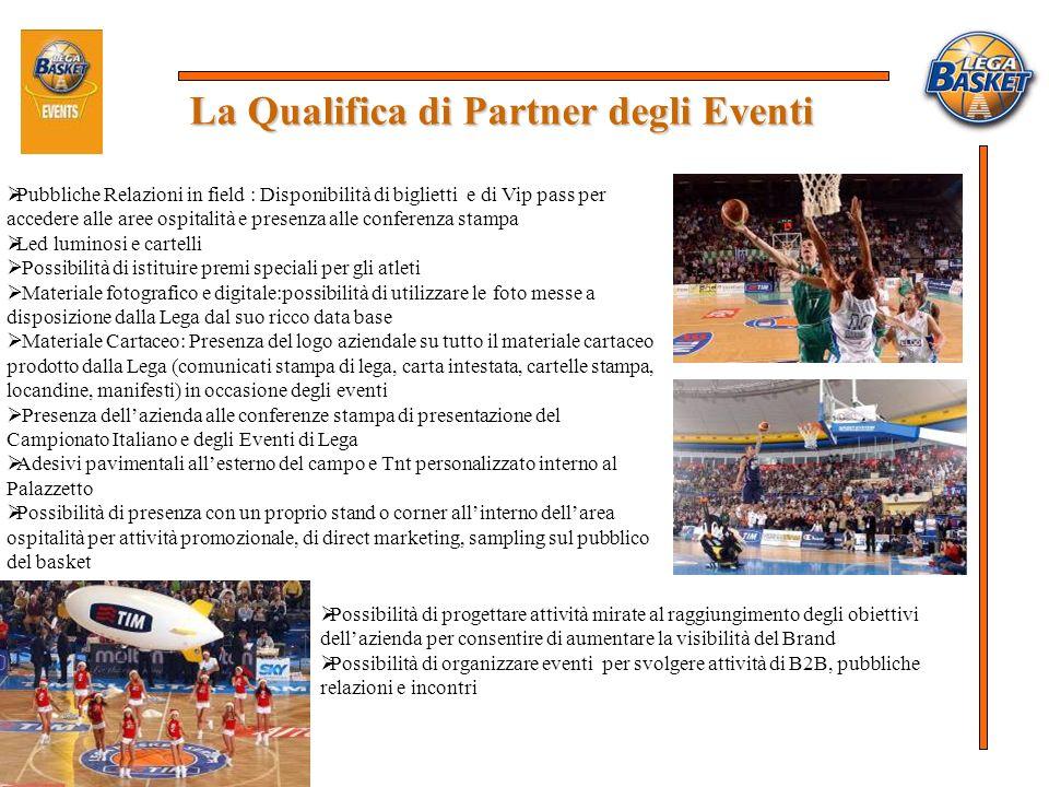 La Qualifica di Partner degli Eventi Pubbliche Relazioni in field : Disponibilità di biglietti e di Vip pass per accedere alle aree ospitalità e prese