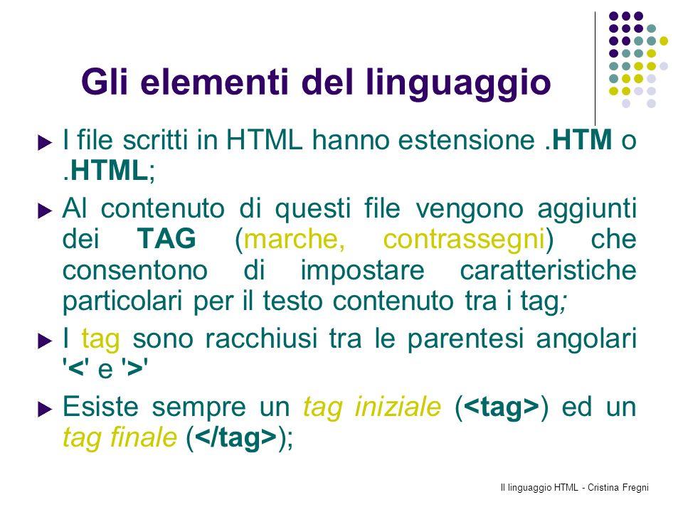 Il linguaggio HTML - Cristina Fregni Gli elementi del linguaggio I file scritti in HTML hanno estensione.HTM o.HTML; Al contenuto di questi file vengo