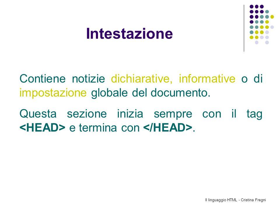 Il linguaggio HTML - Cristina Fregni Intestazione Contiene notizie dichiarative, informative o di impostazione globale del documento. Questa sezione i