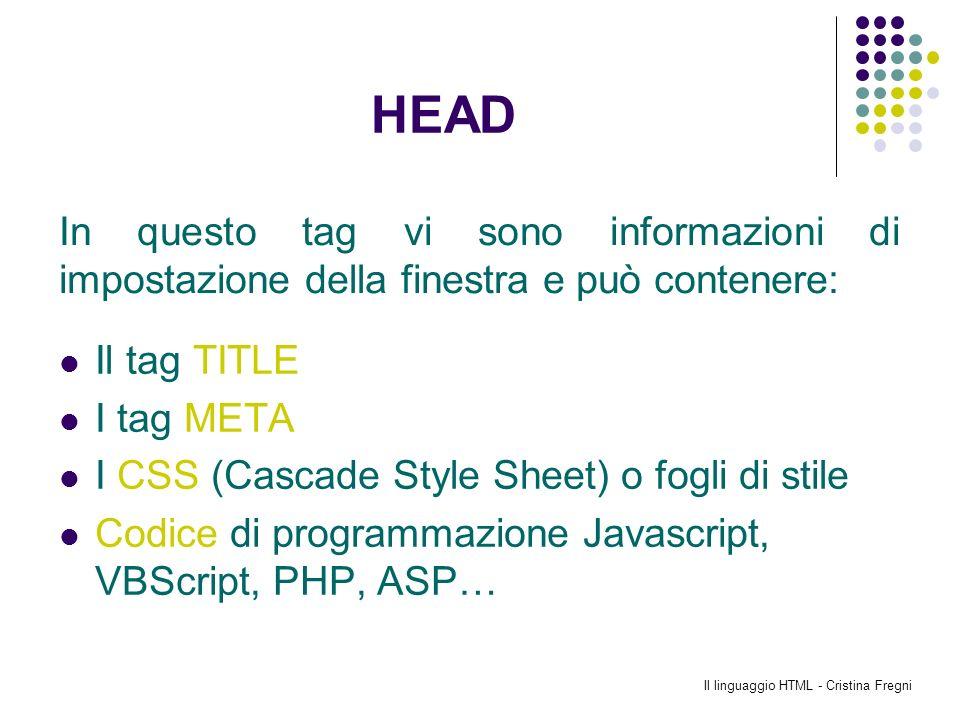 Il linguaggio HTML - Cristina Fregni HEAD Il tag TITLE I tag META I CSS (Cascade Style Sheet) o fogli di stile Codice di programmazione Javascript, VB