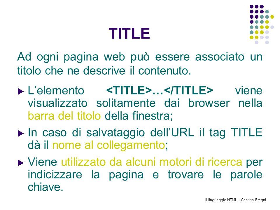 Il linguaggio HTML - Cristina Fregni TITLE Lelemento … viene visualizzato solitamente dai browser nella barra del titolo della finestra; In caso di sa